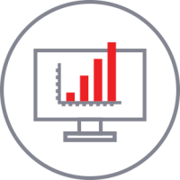 Graph on a computer monitor icon