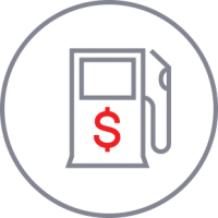 Gas tank icon with dollar sign